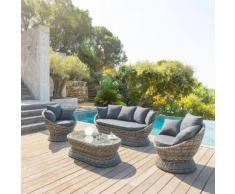 Salon Cocoa Terre d'ombre Jardin 5 places - Aluminium, Résine tressée