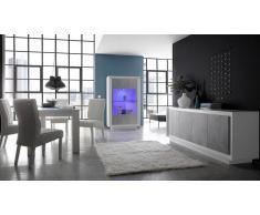 gdegdesign Salle à manger complète LED laqué blanc mat et béton ciré - Dov
