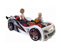 Lit design voiture 90x200 cm en MDF coloris blanc