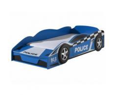 Lit enfant design voiture de police 70x140 cm coloris bleu