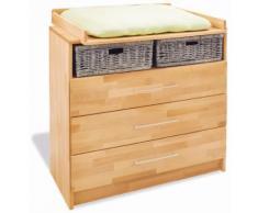 Commode à langer 100 cm à 3tiroirs en bois massif hêtre huilé