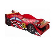 Lit enfant voiture design 70x140 cm coloris rouge
