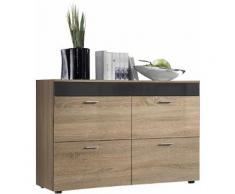 Buffet moderne 100 cm à 4 tiroirs coloris chêne sonoma et graphite