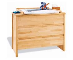 Commode à langer 117 cm à 3 tiroirs en bois hêtre massif coloris naturel