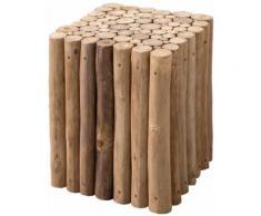 Table d'appoint carré marron rustique en bois massif teck 35 x 35 cm