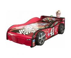 Lit design voiture 90x200 cm coloris rouge