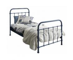Lit design 90x200 cm en métal coloris bleu