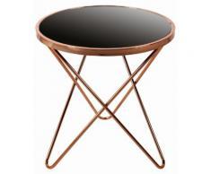 Table d'appoint design Ø 55 cm en métal et verre coloris cuivre et noir