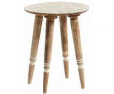 Table d'appoint vintage avec plateau en bois taillé de manguier