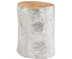 Table d'appoint design en aluminium et plateau en bois de teck massif 38Øcm
