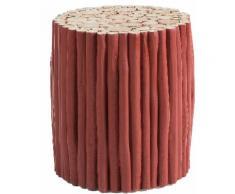 Table d'appoint en branches de bois de teck massif peint en rouge 35Øcm