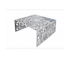 Table basse design en aluminium coloris argent