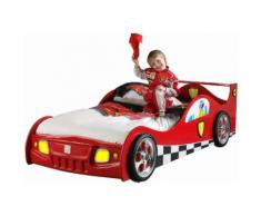 Lit design voiture de course 90x200 cm en MDF coloris rouge avec LED