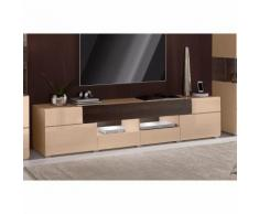 Meuble bas TV design 2 portes, 3 tiroirs, 2 niches