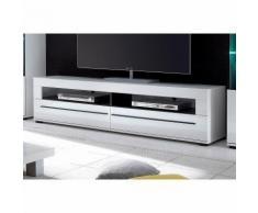 Meuble bas TV design 2 niches, 2 tiroirs largeur 180 cm