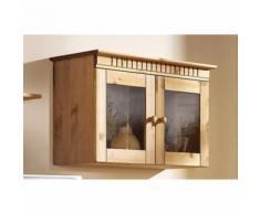 Vitrine murale style anglais 2 portes en verre en pin massif Home aff
