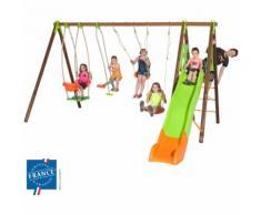 Portique 2,30 m bois-métal nacelle, plateforme, toboggan pour 6 enfants - M&S