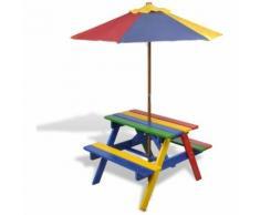 vidaXL Table de pique-nique enfant en quatre couleurs avec parasol