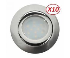 Lot de 10 Spot Led Encastrable Complete Satin Orientable lumière Blanc Neutre eq. 50W ref.895