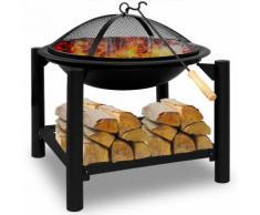 Braséro rond 55cm - avec grille et tisonnier - barbecue chauffage extérieur - DEUBA