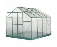 HABRITA - Serre jardin aluminium - avec base et 2 fenêtres / 7,44 m2