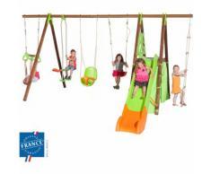 Portique 2,30 m bois-métal trapèze, cabane, siège bébé pour 9 enfants - M&S
