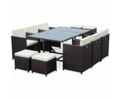 Salon de jardin Cubo Chocolat table en résine tressée 6 à 10 places, fauteuils encastrables