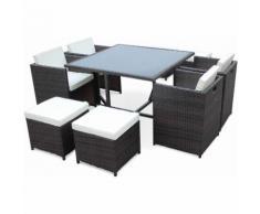 Salon de jardin Vasto Chocolat table en résine tressée 4 à 8 places, fauteuils encastrables