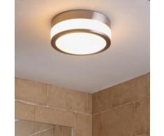 Plafonnier Flavi nickel mat salle de bain plafonnier IP44 rond lampe - LAMPENWELT