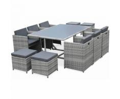 Salon de jardin Vasto Nuances de gris table en résine tressée 6 à 10 places, fauteuils