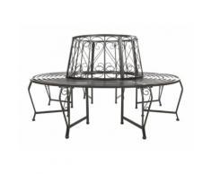 Banc de jardin rond 360° pour arbre 164cm circulaire ancien métal meuble gris - HELLOSHOP26