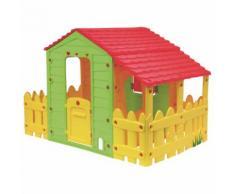 "Cabane enfant ferme ""Fun"" avec jardinet - 185 x 118 x 127 cm - HABITAT ET JARDIN"