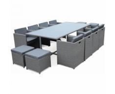 Salon de jardin Vasto Gris table en résine tressée 8 à 12 places, fauteuils encastrables