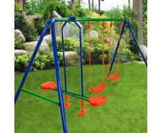 Portique balançoire 3 agrés 2 balançoires 1 face à face enfants jouets jardin - DEUBA