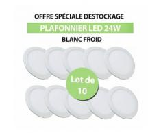 Lot de 10 Plafonniers Led 24W Rond Blanc Froid - TIKE LUMINAIRES
