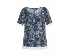 Ulla Popken T-shirt, coupe classic, imprimé fleurs, encolure tunisienne, lien, bordure maille, manches courtes, bleu fumée