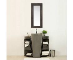 BAIN ET TECK Salle de bain en teck keops simple gris et son miroir en teck