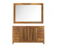 BAIN ET TECK Salle de bain en teck Django natural et son miroir en teck vernis