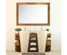 BAIN ET TECK Salle de bain en teck Keops double vasque + miroir