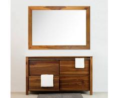BAIN ET TECK Salle de bain en teck Sirocco Natural Vernis et son miroir teck