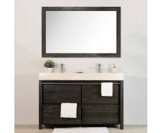 BAIN ET TECK Salle de bain en teck Sirocco double grey et son miroir