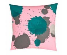 Taie d'oreiller carrée ou de traversin imprimée en coton rose fluo/em
