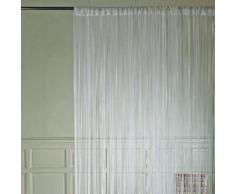 Rideau de fils à passant polyester frange mercerisé 90x240cm OPALE Blanc