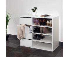 Meuble à chaussures 4 niches 4 tiroirs Longueur 89.5 ARNOLD Blanc