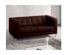Canapé simili capitonné design + pieds métal CHARLTON Chocolat 2 places