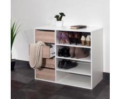 Meuble à chaussures 4 niches 4 tiroirs Longueur 89.5 ARNOLD Chêne