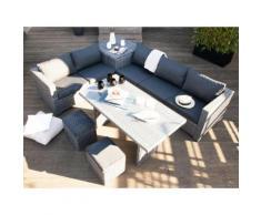 Salon de jardin 7 places : canapé d'angle + 2 poufs + table à manger + table coffre résine tressée TENSHO