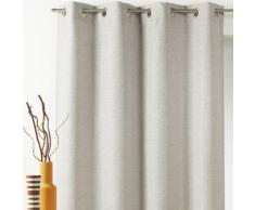 Rideau occultant à œillets uni polyester effet chambray 140x260cm JACINTHE Ecru