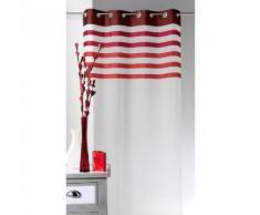 Voilage à œillets 100% polyester parement rayures couleur 140x250cm BELLADONE Rouge