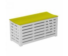 Banc / coffre de jardin en acacia 90x38x43cm - 147L BURANO Vert anis